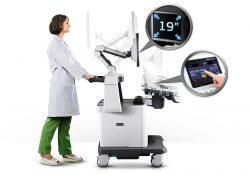 Sistema portátil y ajustable, con pantalla táctil ancha LED de 19 pulgadas de pantalla LCD de alta definición y articulación del brazo del monitor